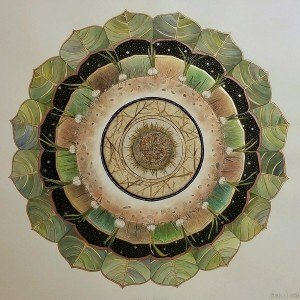 'Ode to Growth' Mixed media mandala drawing by Sarah Everett